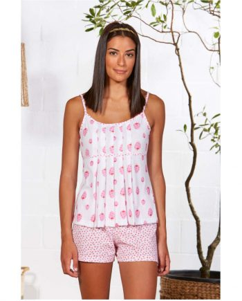 Pijama de verano para mujer con pantalón corto y tirantes